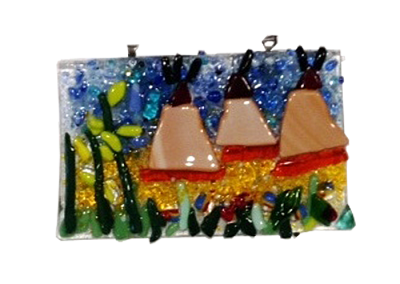 Teepee Scene- Fused Glass