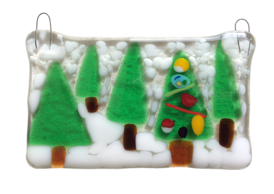 Winter Trees – Fused Glass