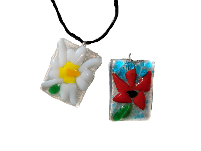 Pendant and Keychain Set – Fused Glass